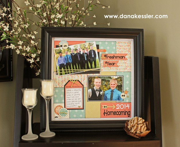 Hopscotch Designed Decor Shadow Box Frame Frame Homecoming Scrapbook layout Boys #ctmh #scraptabulousdesigns #cricutexplore #artfullysent