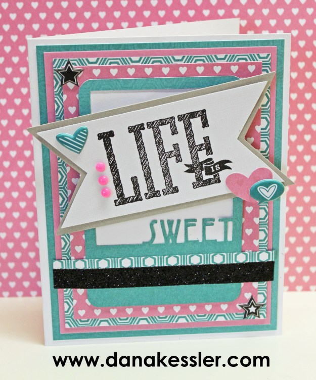 July 2015 Stamp of the Month Life is Wonderful Sweet Card #scraptabulousdesigns #ctmh #cricutexplore