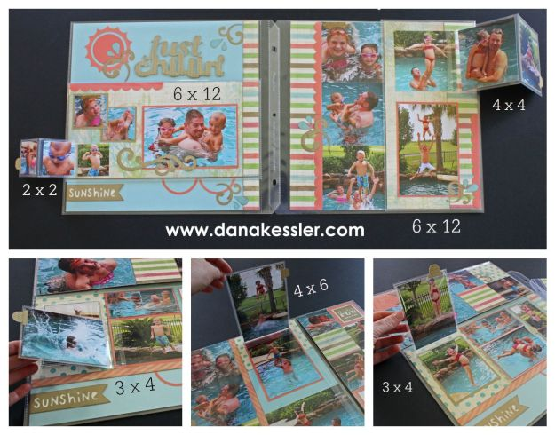 Seaside Pool Summer Beach Scrapbook Layout Flip Flap Interactive #ctmh #flipflaps #pagekits #cricut #scrapbooking