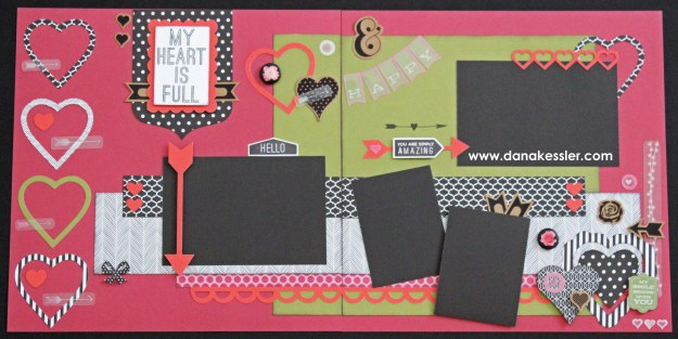 Two page Scrapbook layout Valentines I Love You Heart La Vie En Rose #ctmhlavieenrose #scraptabulousdesigns #scrapbooking #valentines #love #cricutexplore