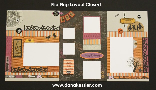Two page scrapbook layout Halloween Nevermore Celebrate Flip Flap Party #ctmhnevermore #ctmh #cricut #scrapbooking #flipflaps