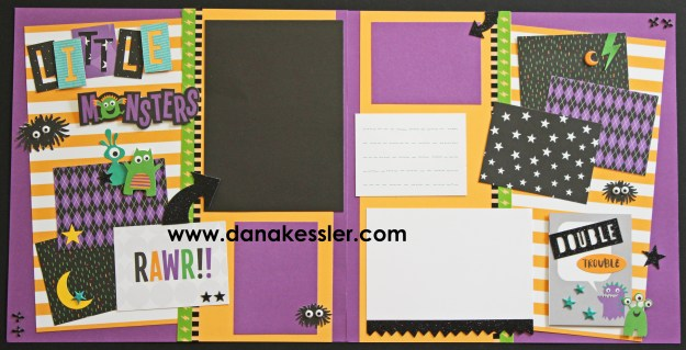Jeepers Creepers Halloween Monster Beware Trick or Treat Two Page Scrapbook Layout #ctmhjeeperscreeepers #scrapbooking #pagekits #halloween #cricut