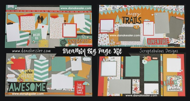 Two Page Scrapbook Layout Page Kit Dreamin Big Travel Outdoors Hiking Boys Summer Explore Adventure Bugs #ctmhdreaminbig #scrapbooking #pagekits #scraptabulousdesigns #cricutexplore