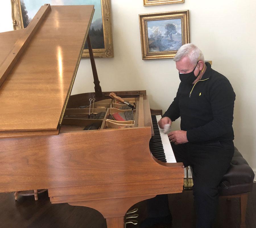 disinfecting piano