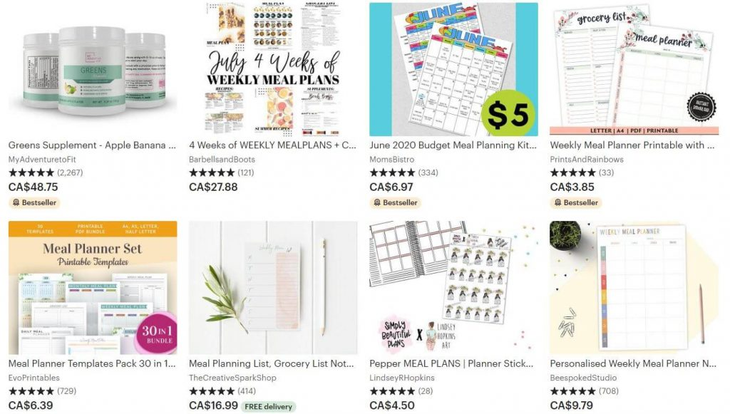 Screenshot of meal plans for sale on Etsy