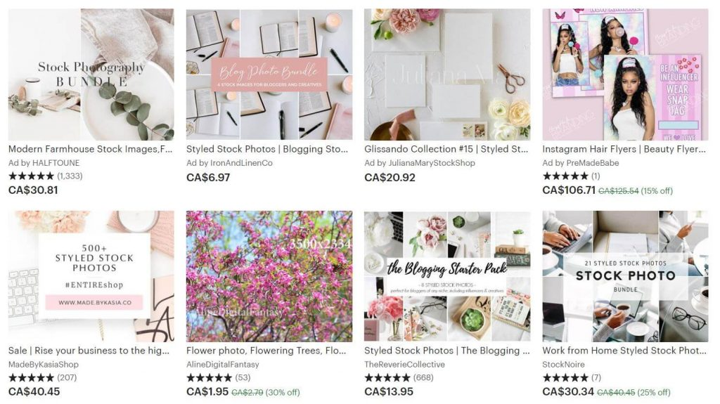 A screenshot of stock photo listings on Etsy