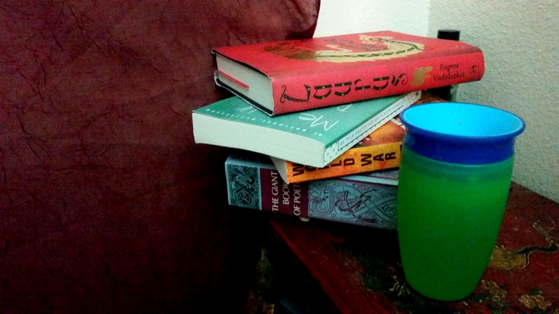 Books and my kid's cup.