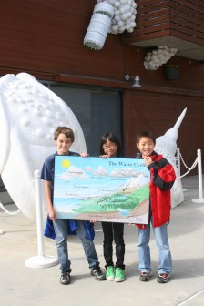 Fisler School students (L to R) Jacob, Christine and Joshua are learning lessons about watersheds on a recent fieldtrip to the Ocean Institute. Photo: Andrea Swayne