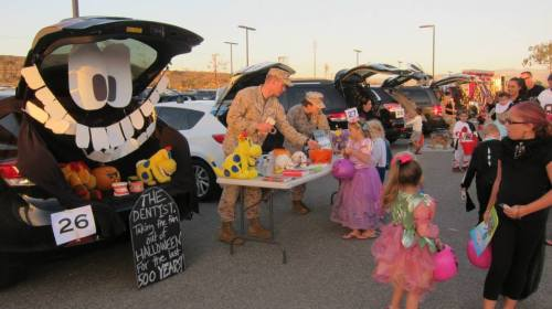 About 350 costumed children of the Camp Pendleton-based 5th Marines trick-or-treat October 30 at a safe Halloween event hosted by the regiment. Courtesy photo