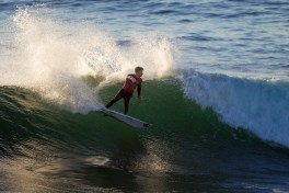 Jake Davis of Capistrano Beach brought home a second-place finish from Surfing America Prime, Event No. 4, January 11-12 at Steamer Lane in Santa Cruz. Photo by Jack McDaniel