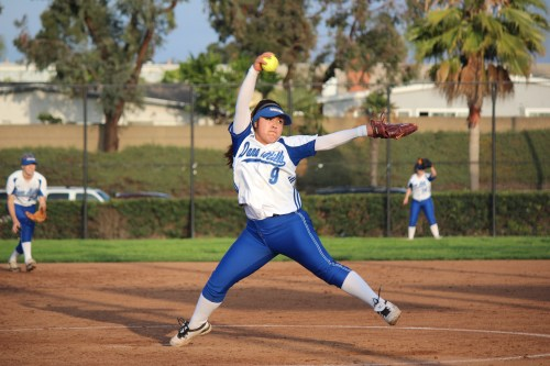 Senior pitcher Olivia Baltazar is on of three Division 1 commits on the Dana Hills softball team that is looking to reach the CIF-SS Division 2 playoffs yet again. Photo by Steve Breazeale