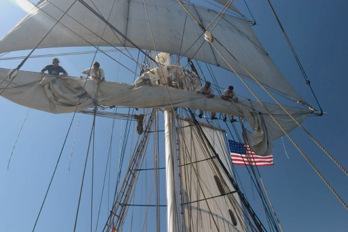 Crew members of the Ocean Institute's brig Pilgrim maintain sails while the replica tall ship of the one Dana Point's namesake, Richard Henry Dana Jr., sailed to California hits the open sea on its annual voyage. Courtesy photo
