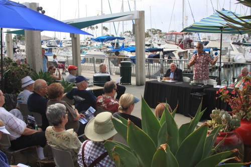 As election season gets underway, candidates for the South Coast Water District began engaging with the public, as seen here at a Dana Point Civic Association candidate forum on Friday, Sept. 19. Photo: Andrea Swayne