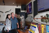 Alan Wickstrom and his wife wait for the first returns to come in during a gathering of his supporters at Surfin Cowboy in Capo Beach. Photo: Andrea Swayne