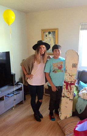 Heidi Burns' company Project Happy Hearts granted the wish—snowboard equipment—heart patient, Jeremiah Verhines, 13, of Dana Point. Photo: Courtesy