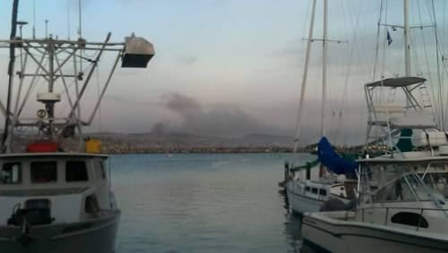 This shot of the Camp Pendleton brush fire as seen from the Harbor was shared by Alan Wickstrom.
