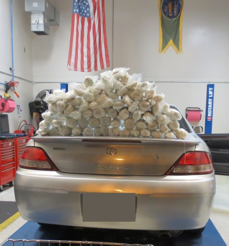 A 2001 Toyota Solara was seized and the methamphetamine weighed a total of 82.36 pounds. Photo: U.S. Border Patrol