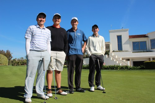 From L to R: Matt Fry, Matt O'Leary, Tanner Podres, Clay Feagler and the Dana Hills boys golf team defeated rival San Clemente twice this week. Photo: Steve Breazeale