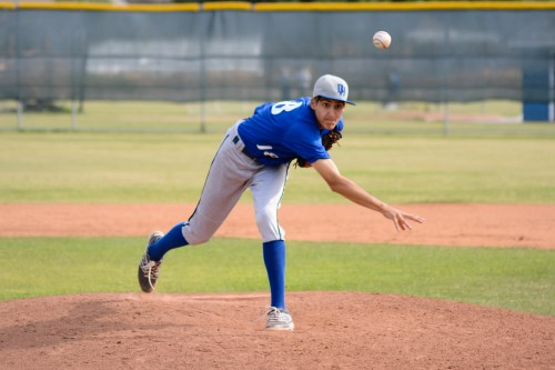 Dana Hills sophomore Hans Crouse was tagged with the loss against El Toro on May 13. Photo: KDahlgren Photography