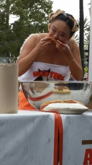 Mary Bowers competed at the World Wing-Eating Championships at Hooters in Long Beach on June 27. Photo: Angela Eason