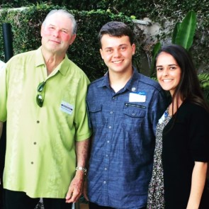 Dana Point Chamber of Commerce director Richard Deffenbaugh poses for a photo with Colin Hicks and Sophie Ripley, two of the five students awarded scholarships by the chamber. Photo: Courtesy of the Dana Point Chamber of Commerce