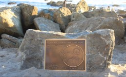 : An unpermitted commemorative rock and plaque depicting the late Larry 'Flame' Moore was placed on the point at Salt Creek in the middle of the night. Will it be allowed to stay? Photo: Andrea Swayne