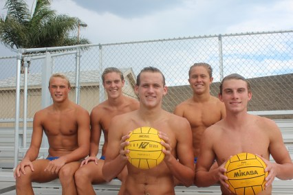 From L to R: Jack McLaughlin, Bryce Dunn, Bennett Williams, Kai Hanson and Riley Zachary will lead the Dana Hills boys water polo team in 2015. Photo: Steve Breazeale