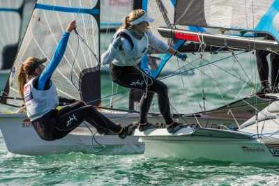 Paris Henken and Helena Scutt maneuver their 49erFX boat during a race in Miami. Photo: Jen Edney