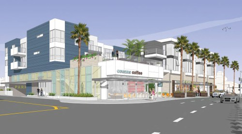 This courtesy rendering shows a northwest-facing view of the PCH/Golden Lantern mixed-use project approved by the Dana Point Planning Commission on Monday.
