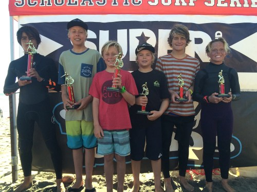 Division 1 Boys Shortboard finalists at event No. 4, Feb. 20 at Oceanside Pier were (L to R) were from Shorecliffs, 1. Nicholas Coli, 2. Kai McPhillips, 3. Myles Biggs and 4. Taj Lindblad, 5. Kiko Nelsen from Thurston and Max Beach (Shorecliffs). Photo: Scott Graham