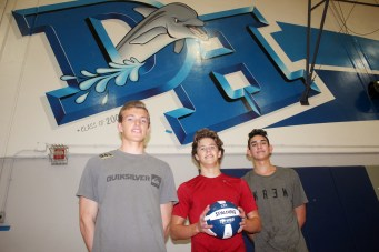 L to R: Grady Yould, Jake Freeman and Nathan Simpson and the Dana Hills boys volleyball team will rely on their ball control and chemistry in 2016. Photo: Steve Breazeale
