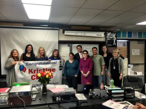 Kristine Clarke (center, left of the banner) a science teacher at Dana Hills High School, has been named the Capistrano Unified School District's High School Teacher of the Year. Photo: Courtesy