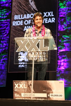 Greg Long is shown here accepting the 2014 Billabong XXL Global Big Wave Award for Ride of the Year. Long is nominated for two WSL Big Wave Awards this year: Best Overall Performance and Barrel of the Year. Photo: Andrea Swayne