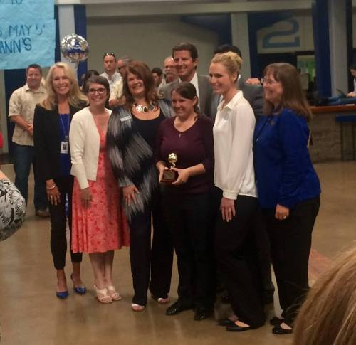 Kristine Clarke (center) was named an Orange County Teach of the Year. Photo: CUSD
