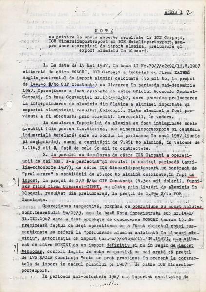 Documentul ce probează că între firma PCR (ICE Carpați) și firma SIE (Crescent) a câștigat Securitatea în paguba statului român (pag1)