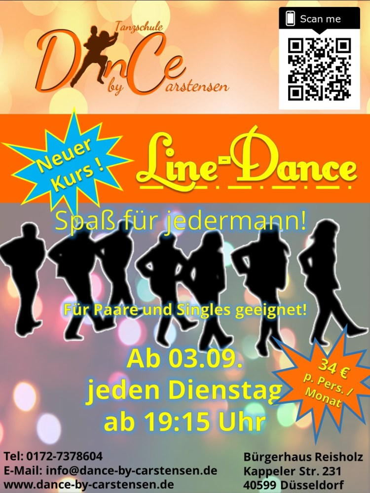 Neuer Kurs: Line-Dance ab 03.09.2019 jeden Dienstag ab 19:00 Uhr im Bürgerhaus Reisholz (34€ p.P./Monat)