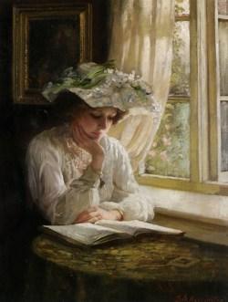 'Lady reading by a window' ~ Thomas Benjamin Kennington, c. 1900