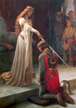 The Accolade ~ Edmund Leighton, 1901. Leighton presents an idealised version of the medieval era in which chivalry, honour and feudalism create a stable and moral society
