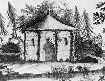 A typical ornamental hermitage. Engraving in 'Universal Architecture', 1755