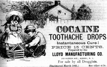 Advertisement for cocaine tooth drops. New York, 1885