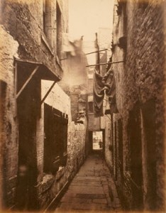 A Glaswegian slum in 1871. Cramped conditions and a conspicuous lack of adequate sewage and water supply systems ensured that such areas were rife with diseases such as cholera, typhus and typhoid fever