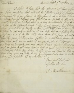 Bentham's letter of February 5th 1762 to his father