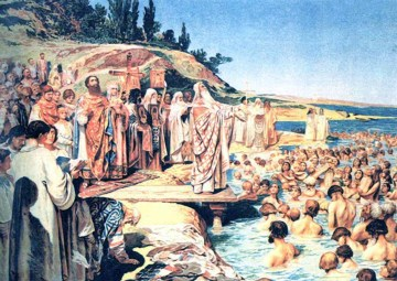 The baptism of Kievans. ~ Klavdiy Vasilievich Lebedev (19th century)