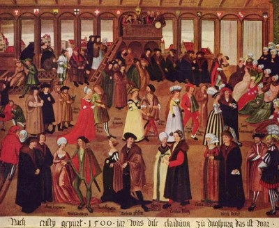 A dance in Augsburg, c. 1500. Such slow and stately movements were the norm in couple dances until the la volta came along