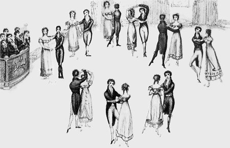 Frontispiece to Thomas Wilson's Correct Method of German and French Waltzing (1816), showing nine positions of the dance
