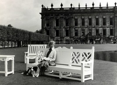 The Duchess of Devonshire in front of Chatsworth House
