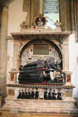 The Denny Monument at Waltham Abbey. Sir and Lady Denny with their 10 children. © Richard Croft