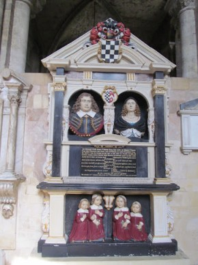 "A memorial to John and Grissell St Barbe of Romsey, also depicting their ""fower sonns"" © Caecilia Dance"