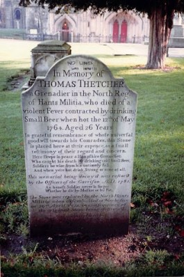 Thomas Thetcher's gravestone in the grounds of Winchester Cathedral. © Supertechguy