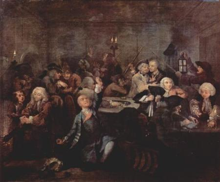 White's Chocolate House. In this painting, a man has just lost his fortune in the gaming room. ~ From William Hogarth's A Rake's Progress, 1735